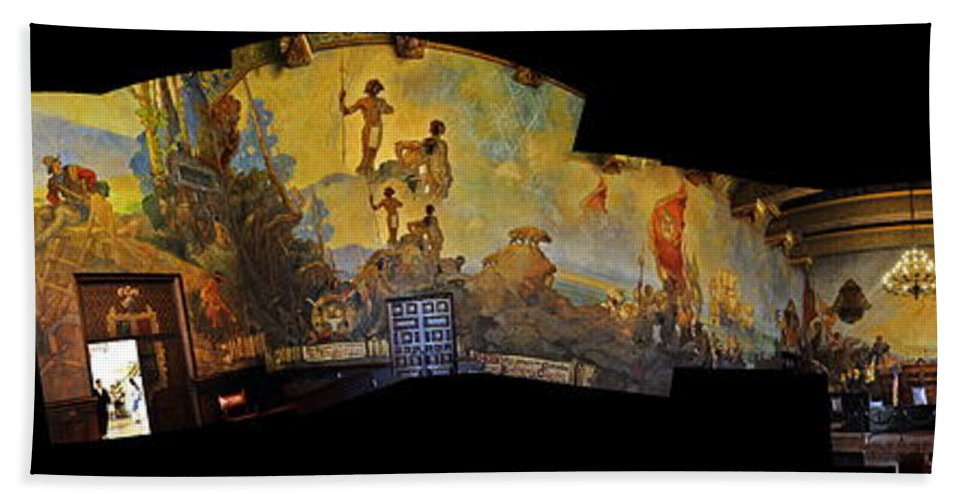 Clay Bath Towel featuring the photograph Santa Barbara Hall Of Murals by Clayton Bruster
