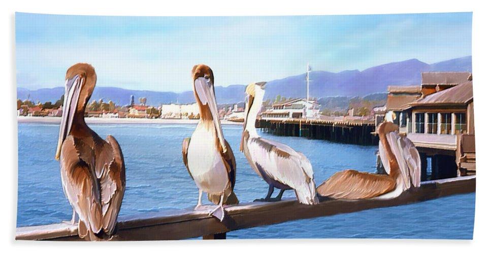 Harbor Hand Towel featuring the photograph Santa Barbara Pelicans by Kurt Van Wagner