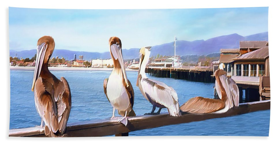 Harbor Bath Towel featuring the photograph Santa Barbara Pelicans by Kurt Van Wagner