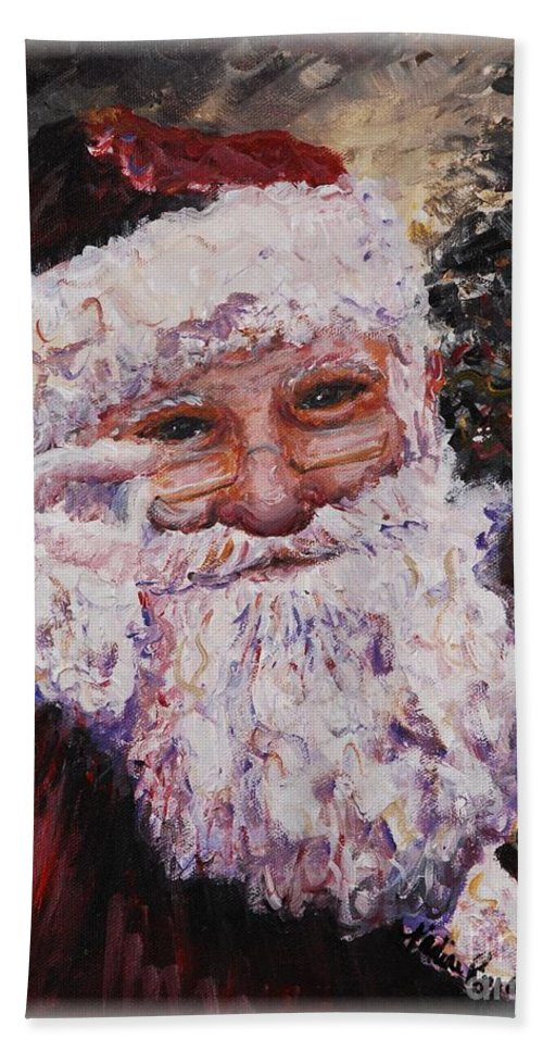 Santa Hand Towel featuring the painting Santa Chat by Nadine Rippelmeyer