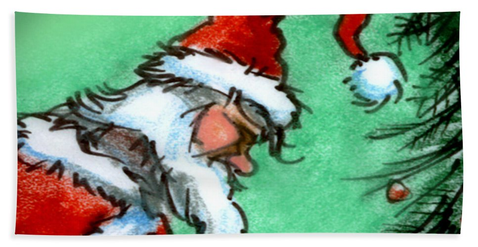 Santa Hand Towel featuring the painting Santa Claus by Kevin Middleton