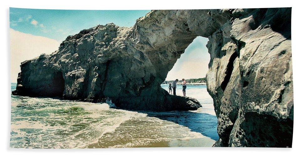 California Scenes Bath Sheet featuring the photograph Santa Cruz Beach Arch by Norman Andrus