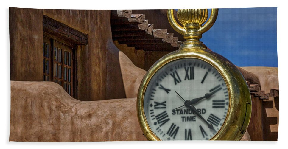 Santa Fe Bath Sheet featuring the photograph Santa Fe Plaza Clock by Stuart Litoff