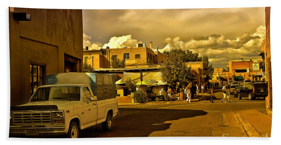 Santa Fe Hand Towel featuring the photograph Santa Fe Plaza by Madeline Ellis