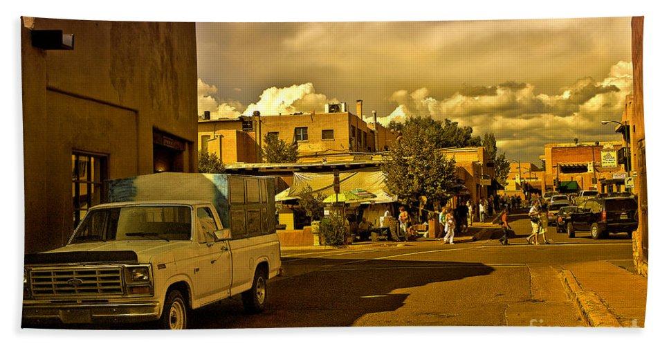 Santa Fe Bath Sheet featuring the photograph Santa Fe Plaza by Madeline Ellis