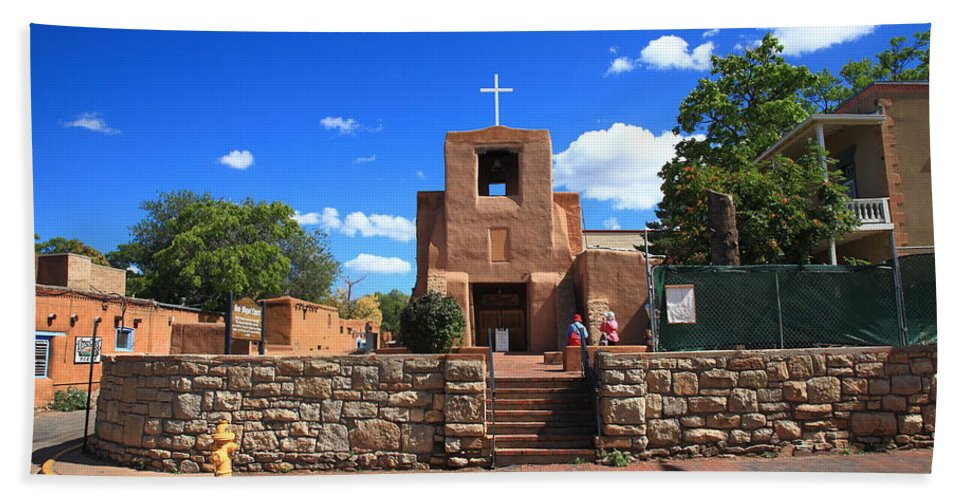 66 Hand Towel featuring the photograph Santa Fe - San Miguel Chapel 6 by Frank Romeo