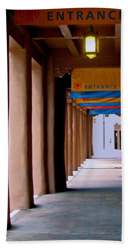 Santa Fe Hand Towel featuring the photograph Santa Fe Sidewalk by Terry Anderson