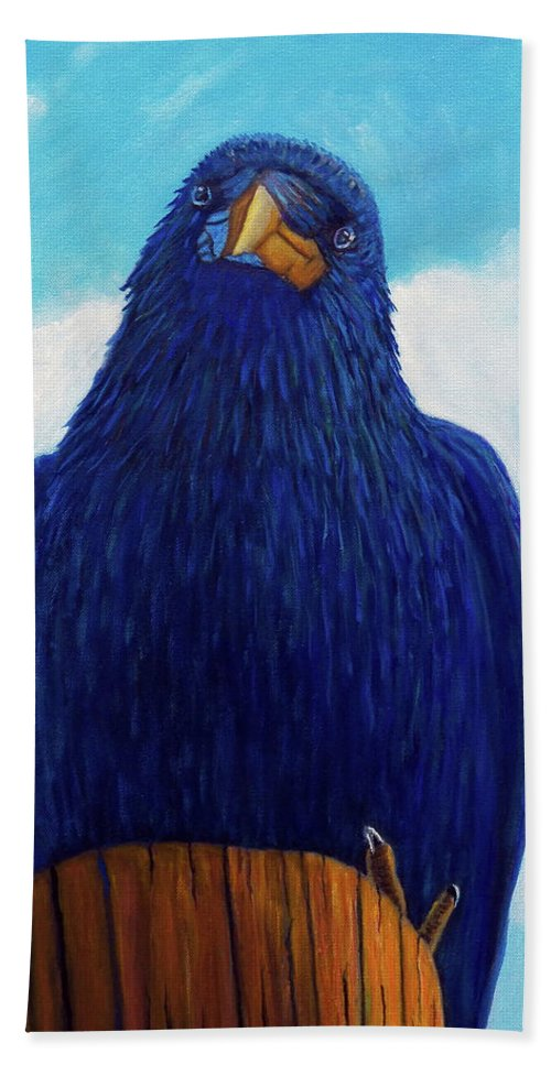 Raven Bath Towel featuring the painting Santa Fe Smile by Brian Commerford
