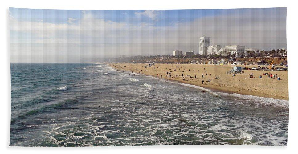 Santa Monica Bath Sheet featuring the photograph Santa Monica Beach by Robert Meyers-Lussier