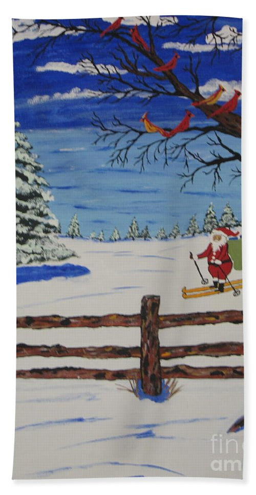 Hand Towel featuring the painting Santa On Skis by Jeffrey Koss