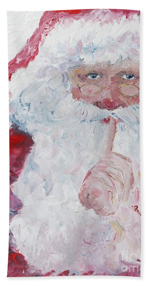 Santa Hand Towel featuring the painting Santa Shhhh by Nadine Rippelmeyer