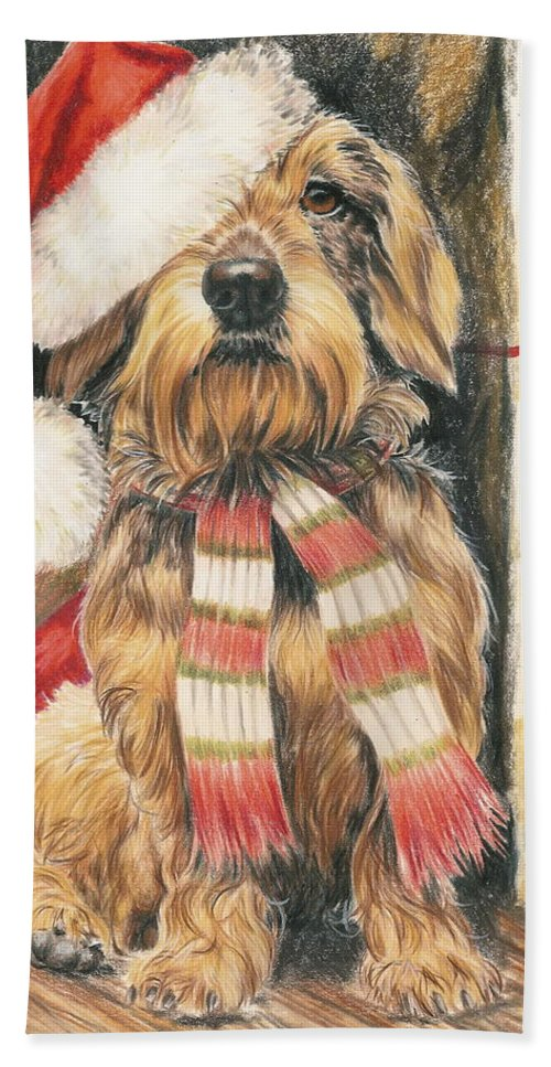 Hound Group Hand Towel featuring the drawing Santas Little Yelper by Barbara Keith