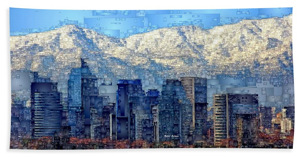 Rafael Salazar Hand Towel featuring the digital art Santiago De Chile, Chile by Rafael Salazar