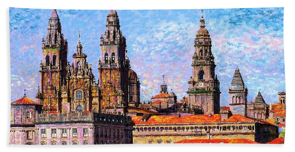 Spain Bath Towel featuring the painting Santiago De Compostela, Cathedral, Spain by Jane Small