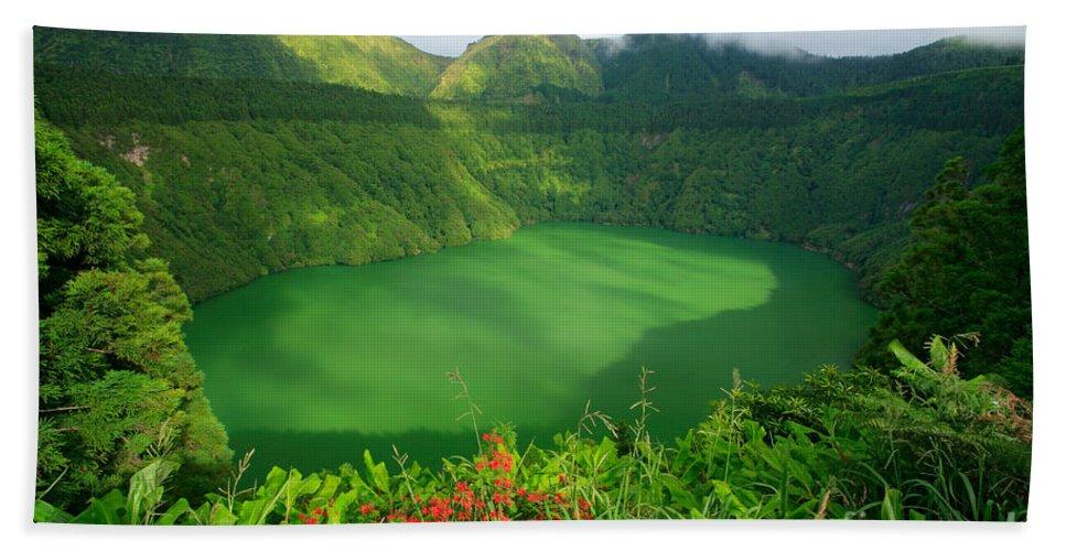 Azores Bath Sheet featuring the photograph Santiago Lake by Gaspar Avila