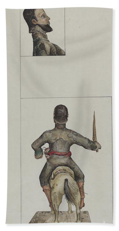 Hand Towel featuring the drawing Santo Bulto (santiago Or San Diego) by Eldora P. Lorenzini