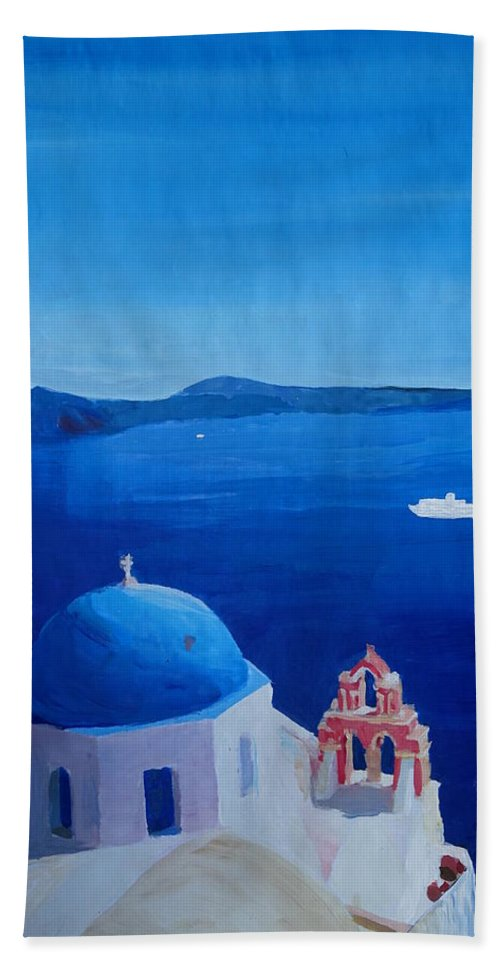 Santorin Hand Towel featuring the painting Santorini Greece View From Oia To Caldera by M Bleichner