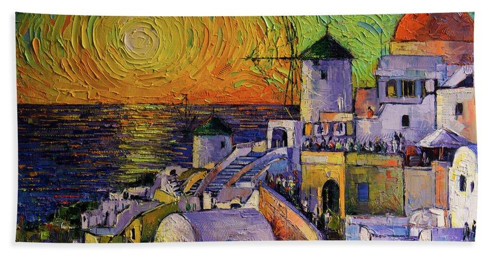 Sunset In Santorini Bath Towel featuring the painting Santorini Sundown by Mona Edulesco