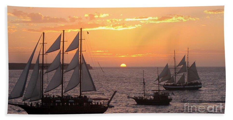 Sailboats Hand Towel featuring the photograph Santorini Sunset Sails by Karen Norton