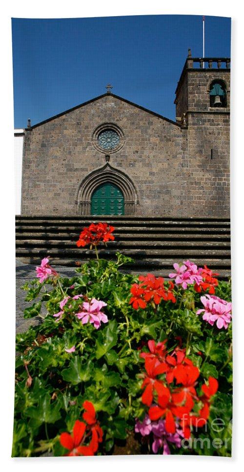 Azoren Bath Towel featuring the photograph Sao Miguel Arcanjo Church by Gaspar Avila