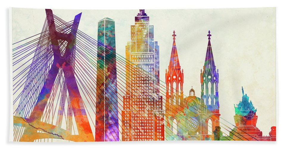 South America Bath Sheet featuring the painting Sao Paulo Landmarks Watercolor Poster by Pablo Romero