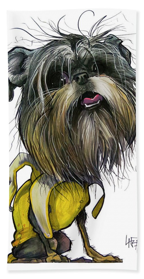 Brussels Griffon Bath Towel featuring the drawing Sao The Banana Man by John LaFree