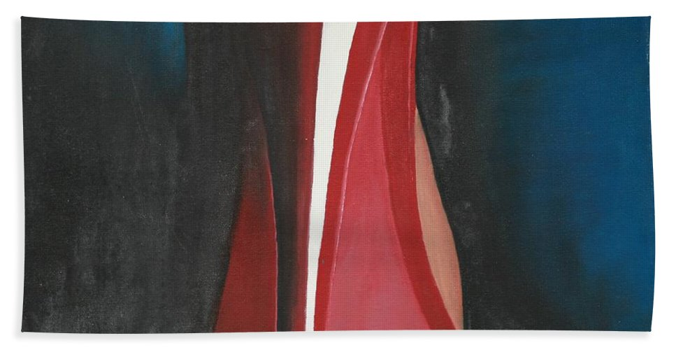 Sassy Shoe Hand Towel featuring the painting Sassy Shoe by Jacqueline Athmann