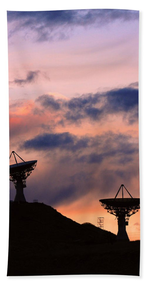 Antenna Hand Towel featuring the photograph Satellite Sunset by James BO Insogna