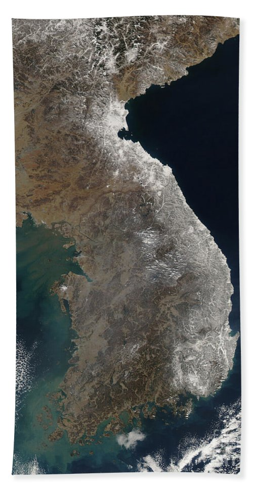 Snowstorm Hand Towel featuring the photograph Satellite View Of Snowfall Along South by Stocktrek Images