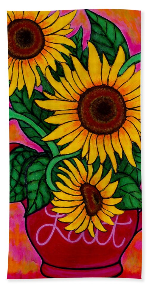 Sunflowers Hand Towel featuring the painting Saturday Morning Sunflowers by Lisa Lorenz