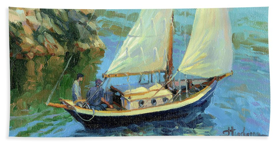Sailboat Bath Towel featuring the painting Saturday by Steve Henderson