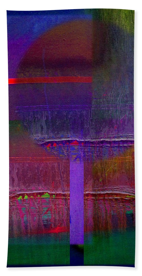 Landscape Bath Towel featuring the painting Saturn Abstract by Charles Stuart