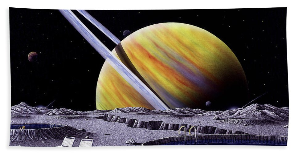 Space Bath Sheet featuring the painting Saturn Spa by Snake Jagger
