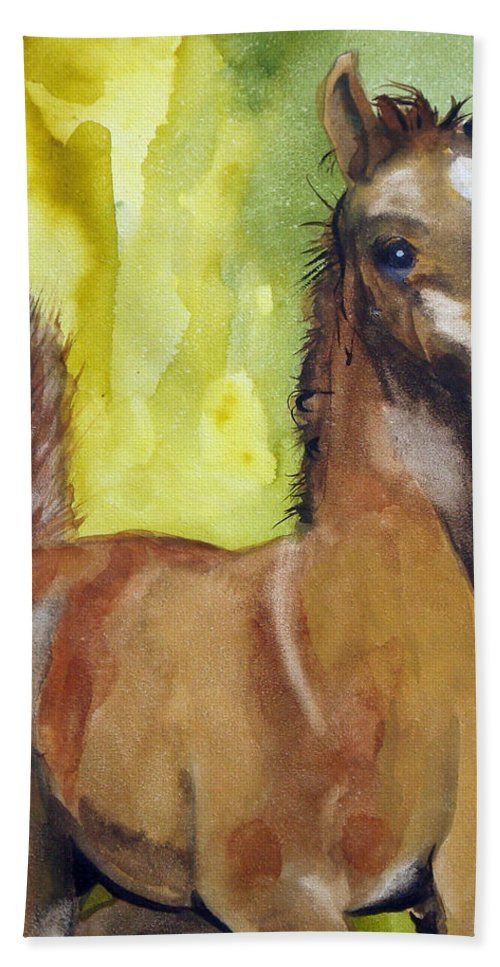 Filly Bath Towel featuring the painting Saucy by Jean Blackmer