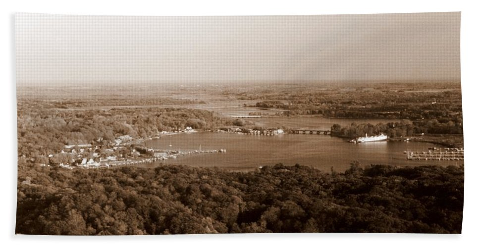 Saugatuck Hand Towel featuring the photograph Saugatuck Michigan Harbor Aerial Photograph by Michelle Calkins
