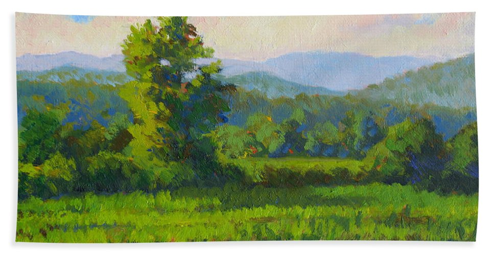 Impressionism Hand Towel featuring the painting Sautee Vista by Keith Burgess