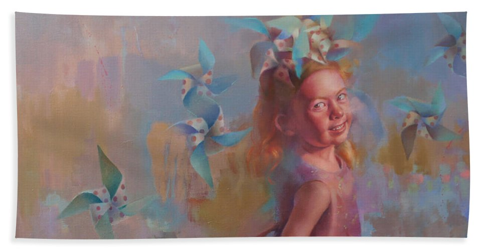 Figurative Bath Sheet featuring the painting Savanah At Play by Cathy Locke