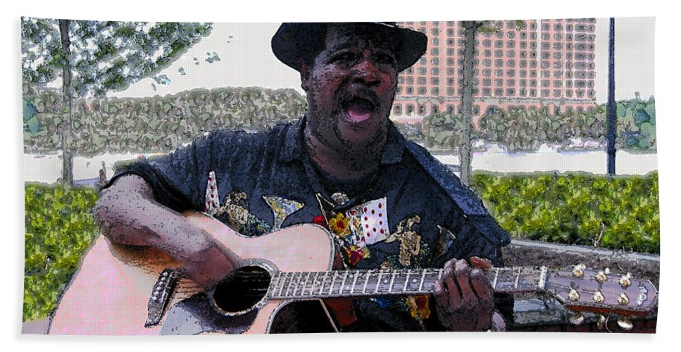 Blues Hand Towel featuring the painting Savanna Blues Man by David Lee Thompson