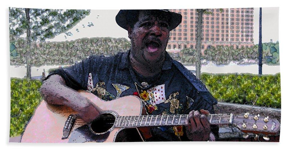 Blues Bath Sheet featuring the painting Savanna Blues Man by David Lee Thompson