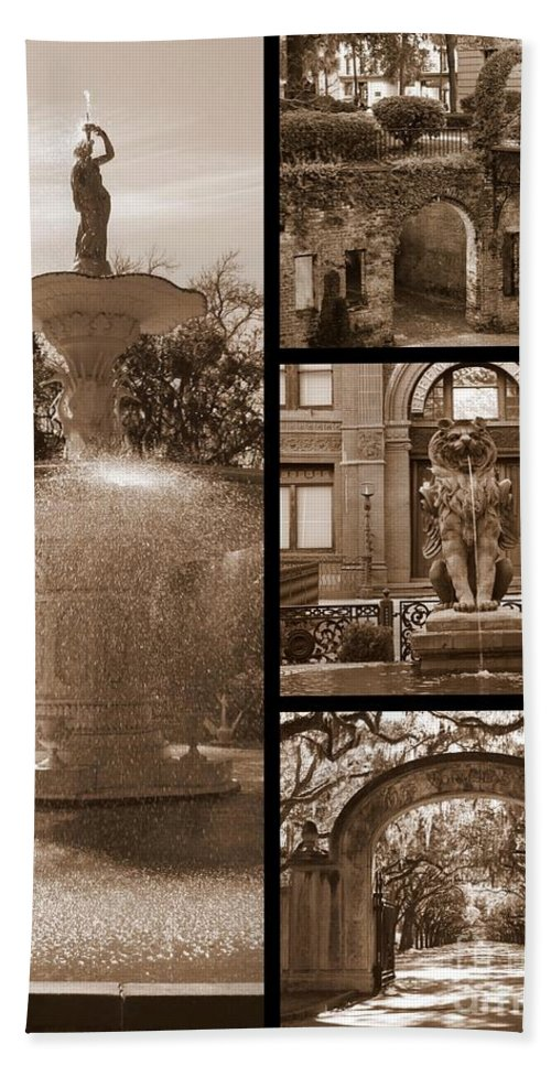 Savannah Hand Towel featuring the photograph Savannah Landmarks In Sepia by Carol Groenen