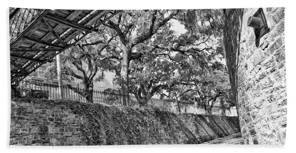 Savannah Bath Sheet featuring the photograph Savannah Perspective - Black And White by Carol Groenen