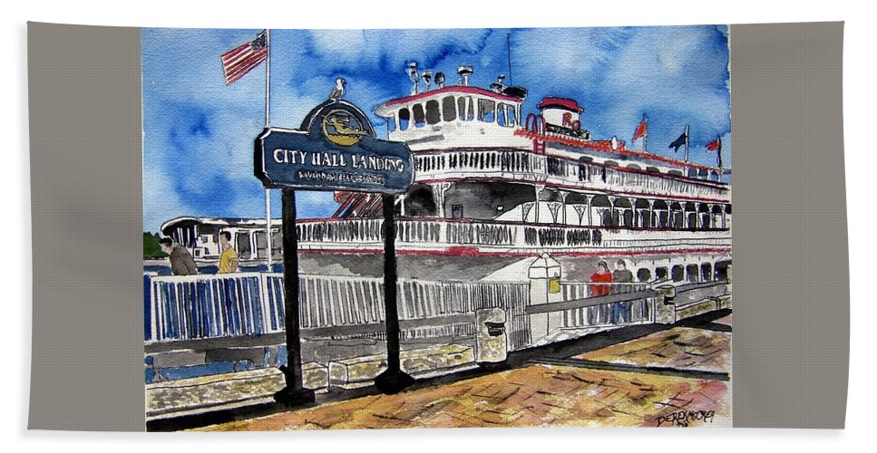 Savannah Hand Towel featuring the painting Savannah River Queen Boat Georgia by Derek Mccrea