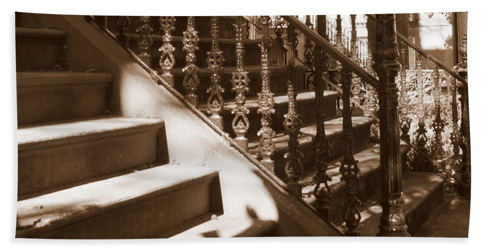 Sepia Hand Towel featuring the photograph Savannah Sepia - Stairs by Carol Groenen