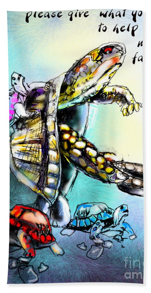 Turtle Painting Hand Towel featuring the digital art Save My Family by Miki De Goodaboom
