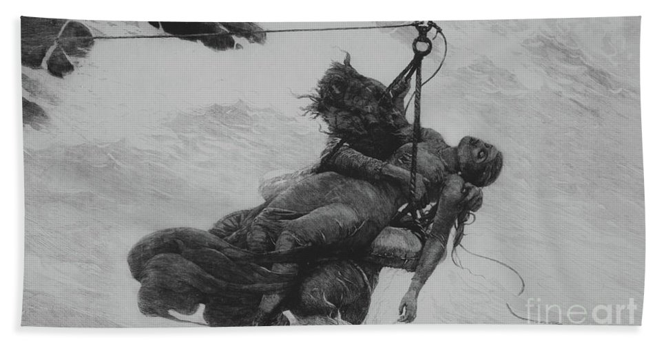 Saved Hand Towel featuring the drawing Saved, 1889 by Winslow Homer