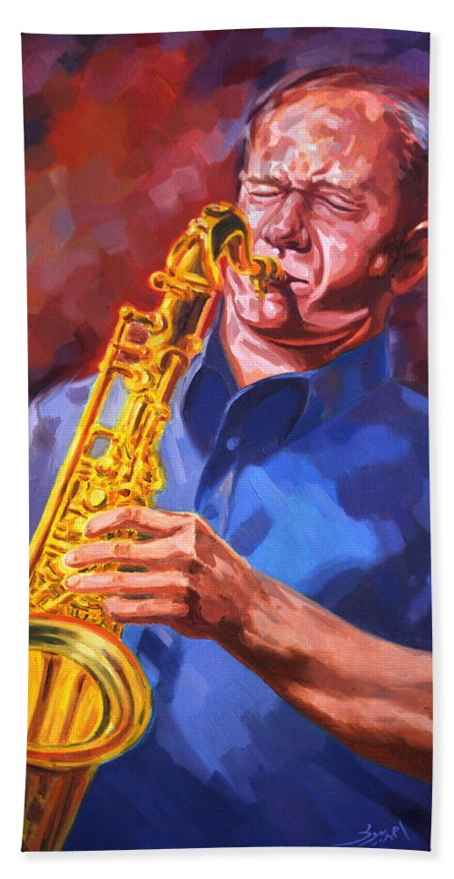 Sax Bath Sheet featuring the painting Sax Player by Ahmed Bayomi