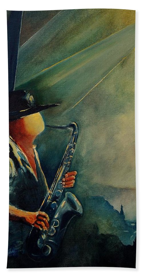 Music Bath Sheet featuring the painting Sax Player by Pol Ledent