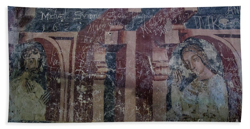 Malancrav Bath Sheet featuring the photograph Saxon Medieval Frescoes, Transylvania by Perry Rodriguez