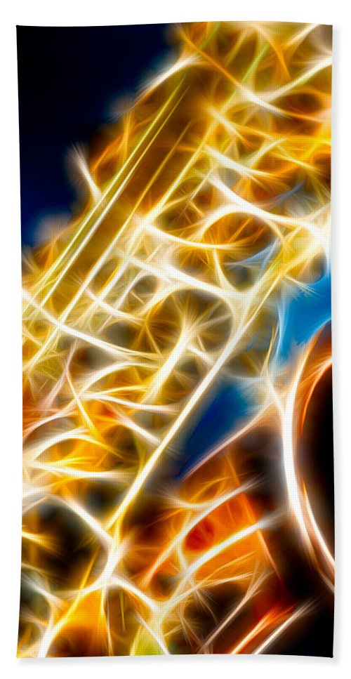 Canon Hand Towel featuring the photograph Saxophone 2 by Hakon Soreide