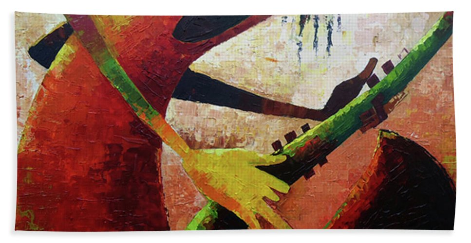 Figure Hand Towel featuring the painting Saxophonist by Lawani Sunday